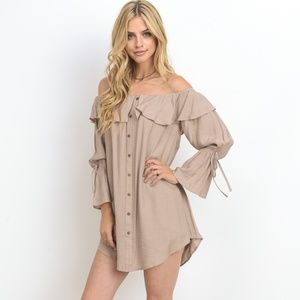 Dusty Pink Romantic Mini  Dress